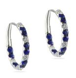 Sapphire & Diamond Earrings in 18K White Gold