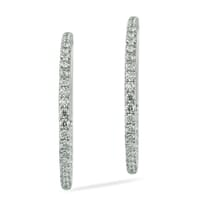 THIN PAVE DIAMOND HOOP EARRINGS IN WHITE GOLD