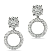 DIAMOND HALO EARRINGS IN WHITE GOLD NYC