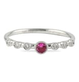 PINK SAPPHIRE AND DIAMOND BEZEL SET STACKING RING