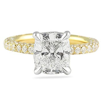 2.76 Carat Cushion Cut Two-Tone Gold Engagement Ring