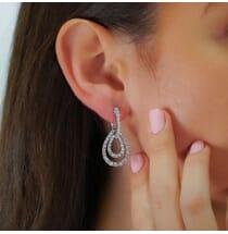 3.90 CT DIAMOND 18K WHITE GOLD DROP EARRINGS