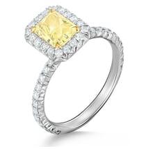 LIGHT YELLOW RADIANT CUT DIAMOND ENGAGEMENT RING