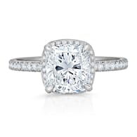 CUSHION CUT HIDDEN HALO ENGAGEMENT RING