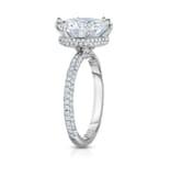 Round Moissanite Hidden Halo™ Three-Row Engagement Ring