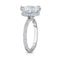 THREE ROW PAVE BAND ENGAGEMENT RING