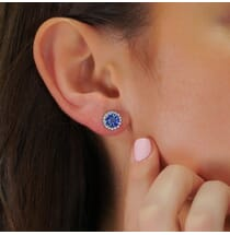 round blue sapphire diamond halo earrings