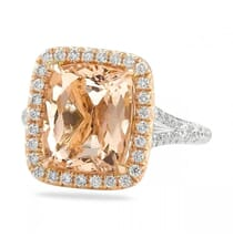 cushion cut morganite halo ring with split band