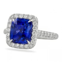 elognated cushion cut sapphire halo engagement ring