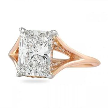 radiant cut split band engagement ring