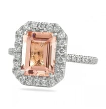 Step Cut Morganite And Diamond Halo Ring