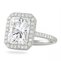 radiant cut moissanite 4 carat engagement ring