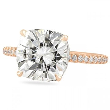 Cushion Cut Moissanite Two-Tone Bezel Wrap Engagement Ring