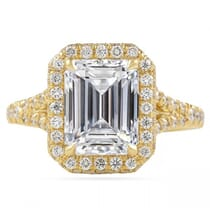 emerald cut moissanite yellow gold engagement ring