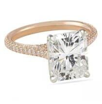 radiant cut moissanite rose gold engagement ring