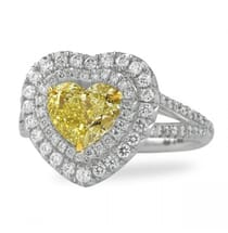 1.50 ct Yellow Diamond Heart Double Halo Ring