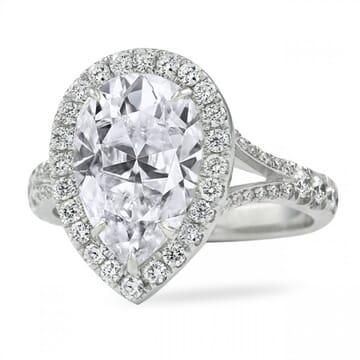 Pear Shape Moissanite Halo Split Engagement Ring