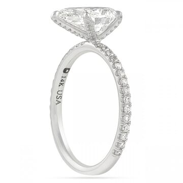 1.70 Carat Pear Shape Diamond Pave Prong Engagement Ring