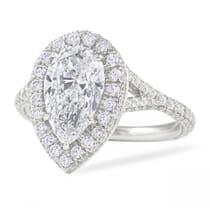 2.01ct Pear Shape Diamond Halo Engagement Ring