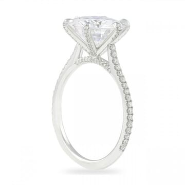 "Round Moissanite Six-Prong ""Super Slim"" Band Ring"