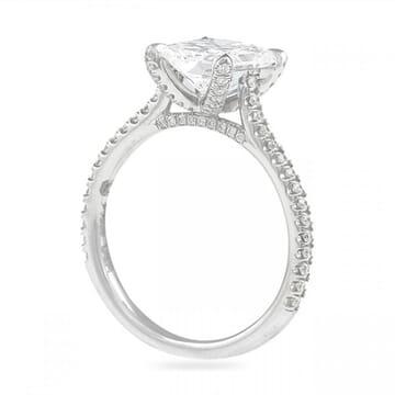 radiant cut diamond 2 carat ring in platinum