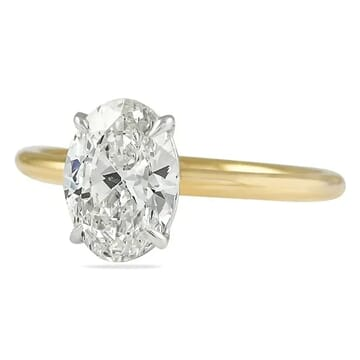 OVAL DIAMOND TWO TONE SOLITAIRE RING