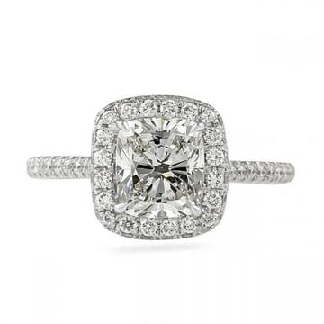 1.5 carat cushion cut diamond halo ring