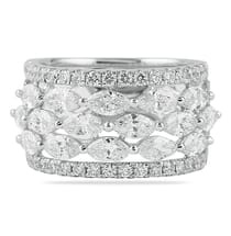 marquise and round diamond wedding band ring