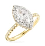 0.80 Carat Marquise Diamond Two-Tone Halo Engagement Ring