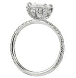 Round Moissanite Encrusted Basket Engagement Ring