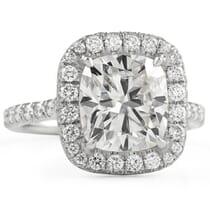 Cushion Cut Moissanite Double Edge Halo Engagement Ring white gold pave diamond band