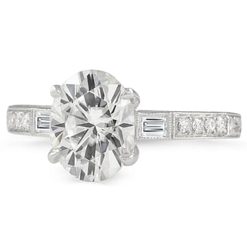 Oval Moissanite Vintage Style Engagement Ring