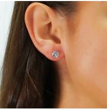 7.5 MM ROUND MOISSANITE WHITE GOLD STUD EARRINGS