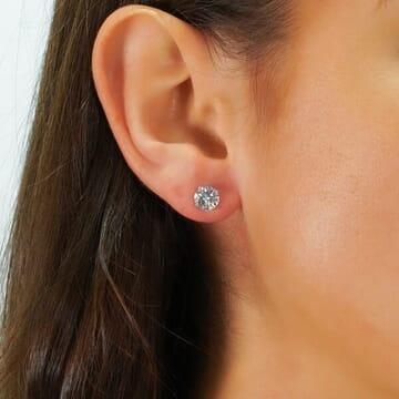 7.5 MM ROUND MOISSANITE WHITE GOLD STUD EARRINGS