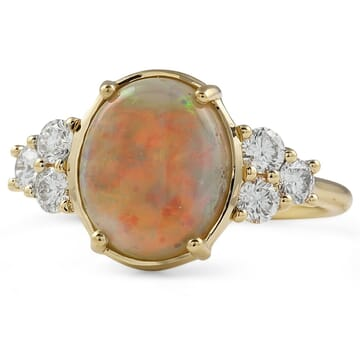 White Opal and Diamond Engagement Ring