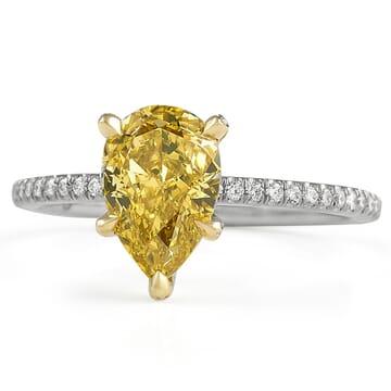 1.62 Carat Fancy Orangey Yellow Pear Shape Diamond Ring pave diamond white gold band