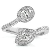 Toi et Moi Oval and Marquise Diamond Halo Ring front view