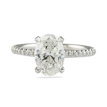 1.7 carat oval diamond pave engagement ring