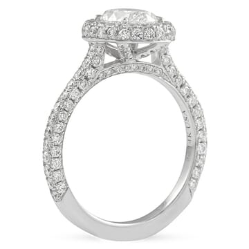 0.96 ct Oval Diamond Halo Three Row Band Engagement Ring front view white gold