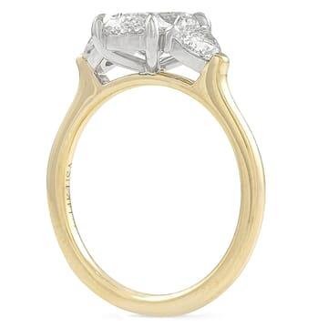oval diamond three stone ring with half moons