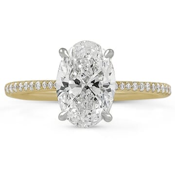 two carat oval diamond yellow gold engagement ring