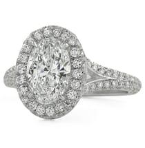 1.51 carat Oval Diamond Three-Row Band Halo Engagement Ring