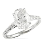 Oval Moissanite Pave Cathedral Engagement Ring
