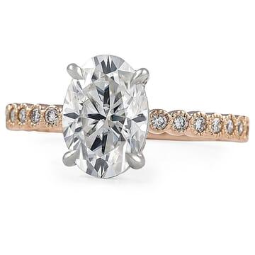 Oval Moissanite Bezel Band Engagement Ring
