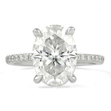 Oval Moissanite Pave Prong Engagement Ring