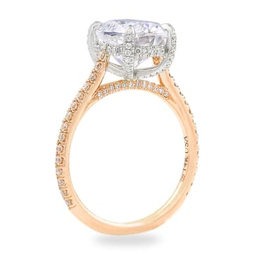 Oval Moissanite Two-Tone Engagement Ring