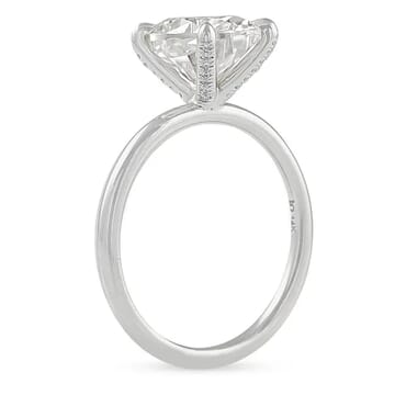 Oval Moissanite Pave Prong Solitaire Engagement Ring
