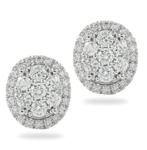 oval shape diamond cluster earrings
