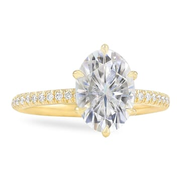 Oval Moissanite Six Prong Engagement Ring