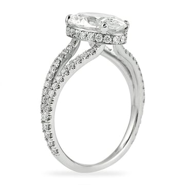 oval diamond split band engagement ring
